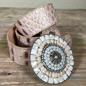Leatherock belt mother of pearl stone buckle croc
